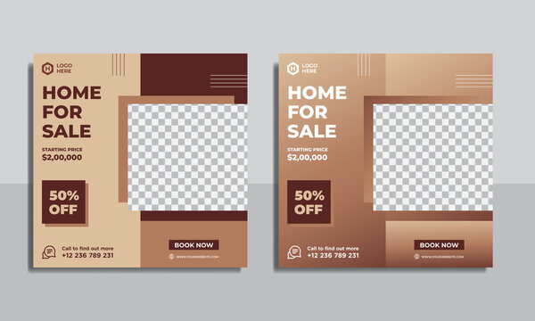 Real estate social media post template, square banner template Premium Vector