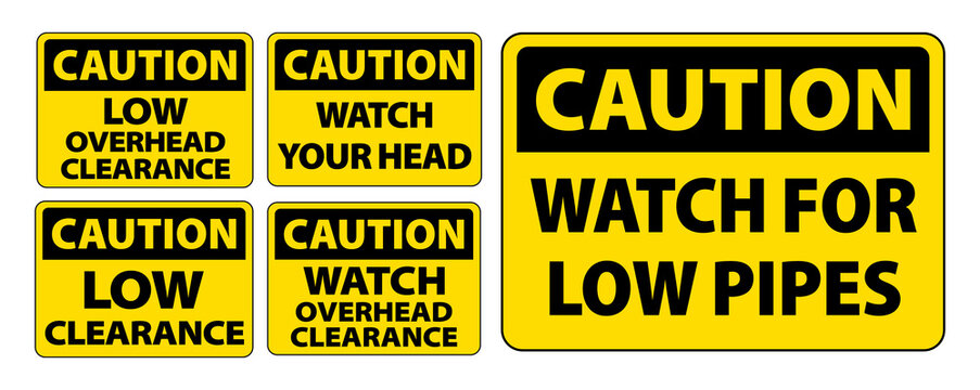 Caution clearance sign collection sets. Low clearance watch overhead clearance caution signs vector