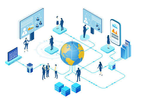 Isometric Internet datacenter, server room, web administrator hosting concept  with business people working around globe. Technology, success, internet, data protection