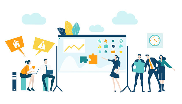 Business people, team having a meeting. People talking in front of screen, discussing the way to develop new project, working together, support and achievement. Business concept illustration