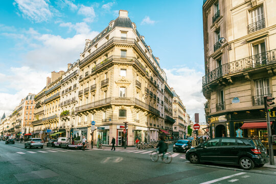 6th Arr. in Paris with historic houses, Rue Sabot in sunny autumn day