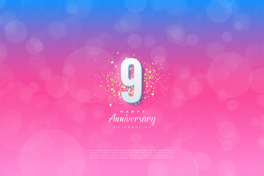 9th Anniversary with background graded from blue to pink.