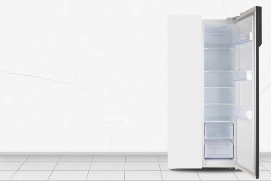 Home appliance -  Open Two-door side by side refrigerator in front of white wall