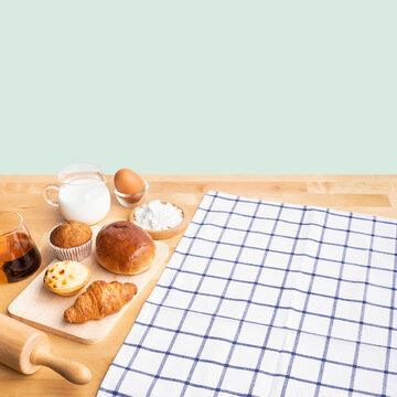 Set of breakfast food or bakery,cake on table kitchen with copy space background