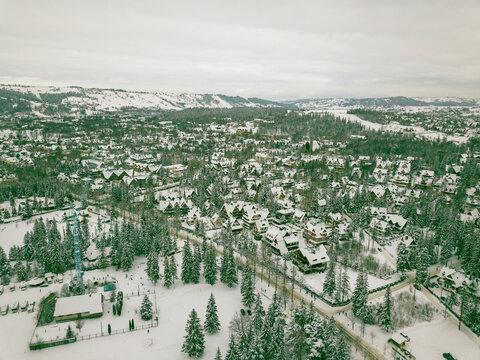 Winter in the mountains. Zakopane in the snow