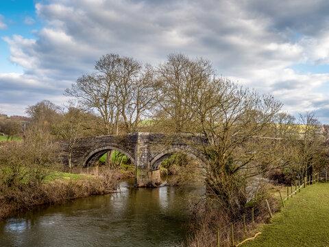 River Tamar and Higher New Bridge near Launceston, on the Devon - Cornwall border, England.