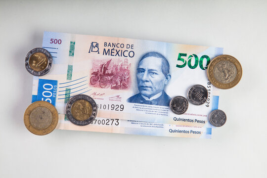 mexican peso money background. Mexico banknotes and coins