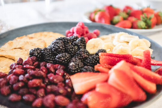Close up of a plate of fresh fruit