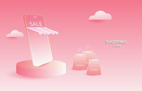 Online shopping on websites or applications vector