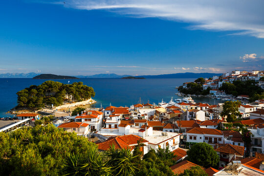 View of the old harbour on Skiathos island.
