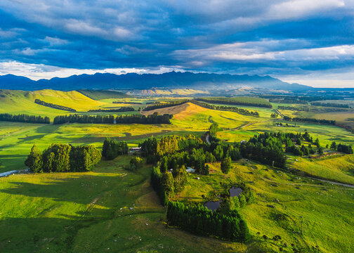 Evening aerial view of Southland, New Zealand
