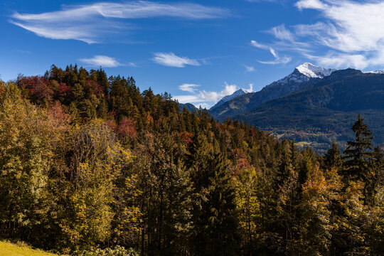 Autumn landscape in Berchtesgadener Land, Bavaria, Germany.