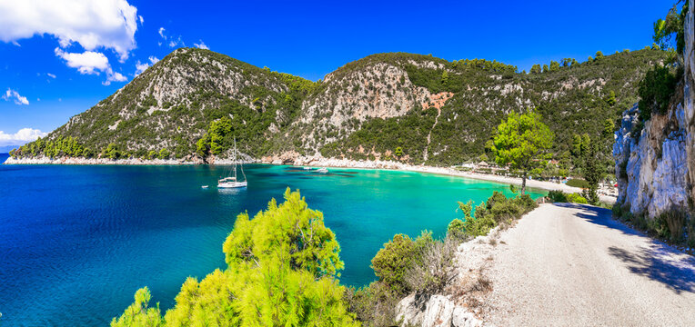 Wonderful nature and beaches of Skopelos island - Limnonari with amazing bay and turquoise sea. Sporades islands , Greece