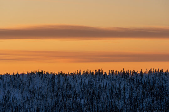 View of Tjuvåsen Hills from the east in winter by evening, part of the Totenåsen Hills, Norway.