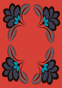 Cover for a book or notepad, postcard - stylized flowers and plants.