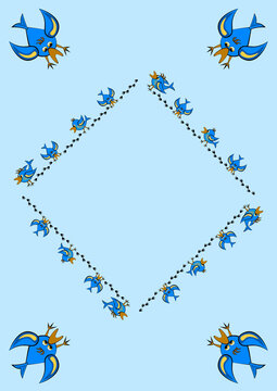 Frames, pattern - birds leave footprints in the snow. The season is winter