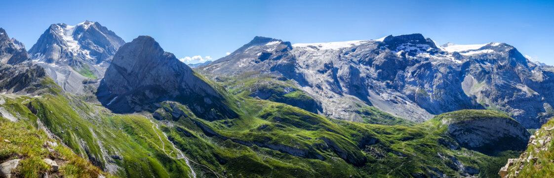 Grande Casse Alpine glacier landscape in French alps.