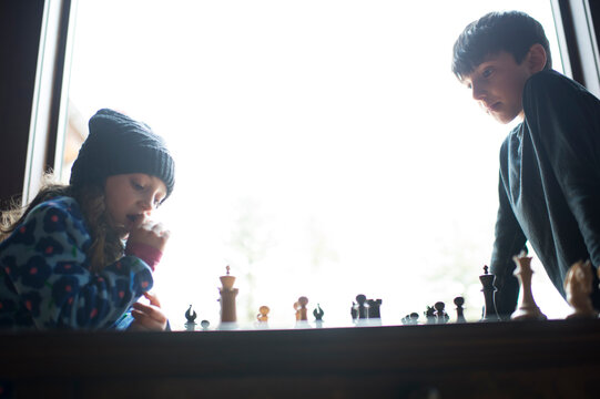 Low angle view of siblings playing chess by window at home
