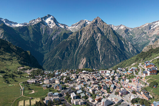 Aerial view of les 2 alpes in summer, Ecrins, France