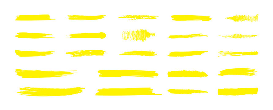 Highlight Marker yellow line. Marker color stroke, brush pen hand drawn underline. Highlight strokes isolated on white background. Vector illustration