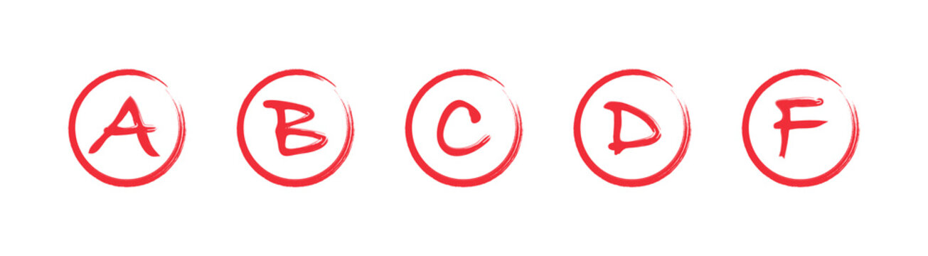 Assessment results. Hand drawn school or college exam results. Class grades with circles red on white background. Vector illustration.