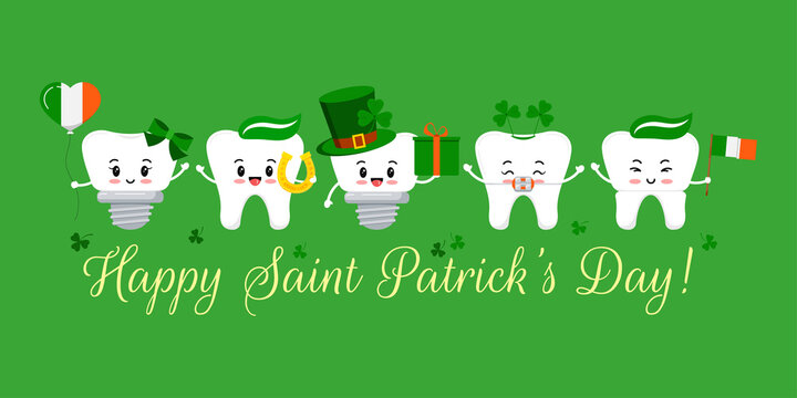 St Patrick day tooth with braces, implant and crown. Dental teeth irish character leprechaun hat with clover, glasses. horseshoe, gift, flag on dentist greeting card. Flat cartoon vector illustration.