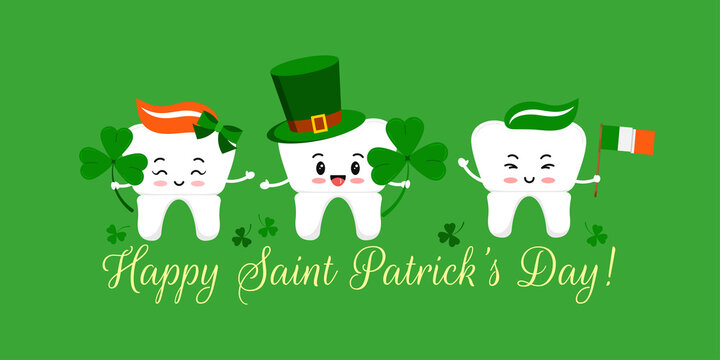 St Patrick day tooth in leprechaun hat with clover and irish flag. Dental crown teeth irish character with lucky shamrock on dentist greeting card. Flat cartoon vector Happy paddy's day illustration.