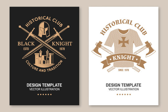 Knight historical club flyer, brochure, banner, poster. Vector Concept for shirt, print, stamp, overlay or template. Vintage design with fortress, knight helmet, battle axe and hauberk silhouette