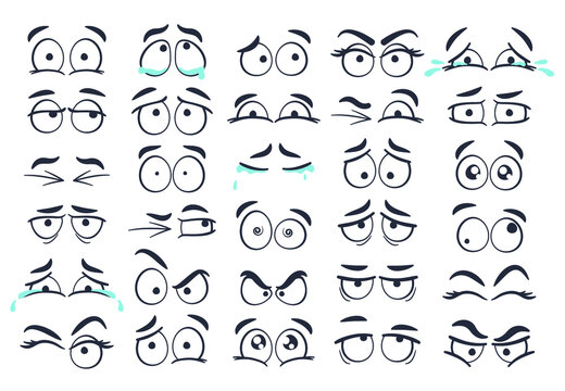 Cartoon eyes. Hand drawn eye emotions, funny eyes expression and blink vector set