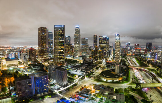 Aerial nighttime shots over downtown los angeles
