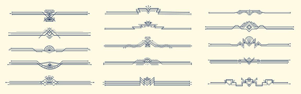 Elegant art deco dividers. Geometric 1920s ornaments, retro header border vector set