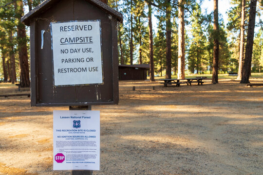 SUSANVILLE CALIFORNIA - SEPTEMBER 8, 2020 - Closure sign at deserted Eagle Lake campground pursuant to Forest Service order to close forest access.