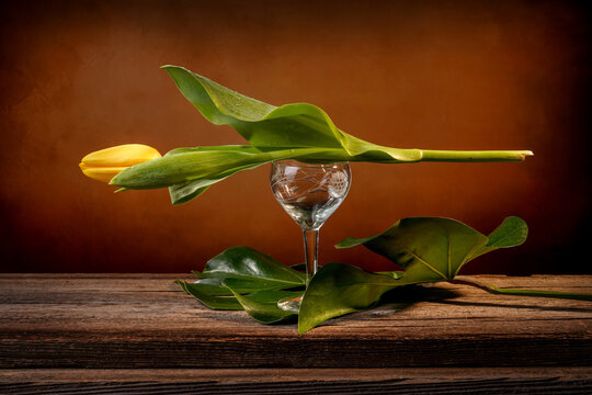 Still life of a closed yellow tulip placed on a wine goblet engraved on a barn wood table in front of an orange backdrop