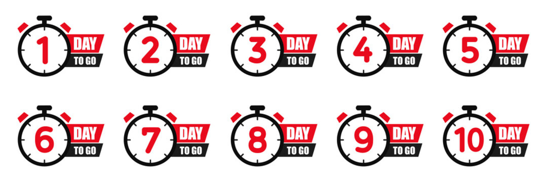 Set days icons to go last countdown icon. Days go sale price offer promo deal timer, day only – vector