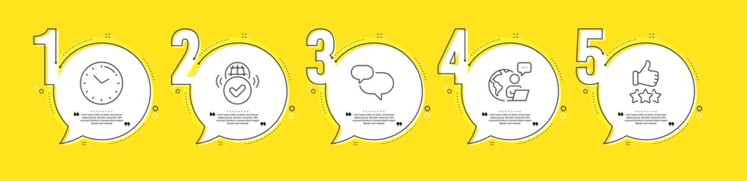 Verified internet, Chat message and Rating stars line icons set. Timeline process infograph. Time sign. Confirmed web, Speech bubble, Thumb up. Clock. Technology set. Vector