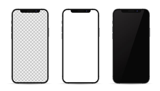 Kiev, Ukraine - February 14, 2021: Apple iPhone in graphite color. Mock-up screen front view iphone with transparent, white and black screen phone.