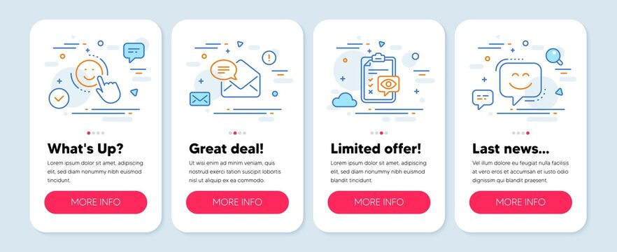 Set of Business icons, such as New mail, Eye checklist, Smile symbols. Mobile screen mockup banners. Smile face line icons. Received e-mail, Optometry, Positive feedback. Chat. New mail icons. Vector