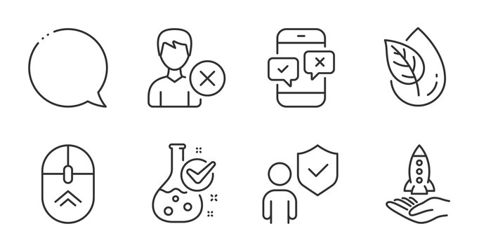 Crowdfunding, Speech bubble and Remove account line icons set. Swipe up, Organic product and Security signs. Chemistry lab, Phone survey symbols. Start business, Chat message, Delete user. Vector
