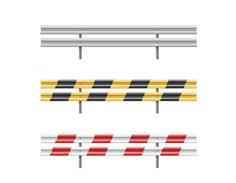 Metal road barriers set. Red, black, yellow and white traffic safety equipment
