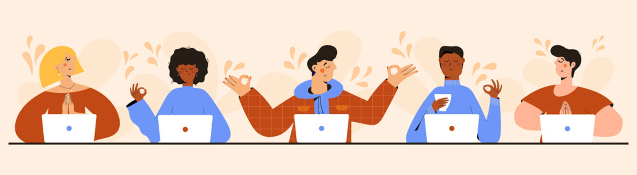 Set of Business people Meditating, Practicing Yoga Meditation at Workplace Sitting in front of laptop. Office workers or freelancers relax and meditate. Relaxation, Positive, Mind Tranquility