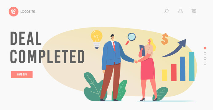 Successful Business Collaboration Landing Page Template. Businesspeople Shaking Hand. B2b Data and Key Indicators