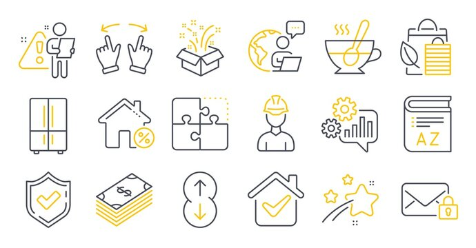 Set of Business icons, such as Secure mail, Cogwheel, Tea cup symbols. Bio shopping, Gift, Confirmed signs. Refrigerator, Scroll down, Loan house. Move gesture, Vocabulary, Puzzle. Foreman. Vector