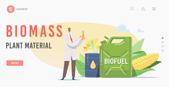 Biomass Plant Material Landing Page Template. Scientist Chemist Character Holding Flask with Eco Petrol Stand at Biofuel