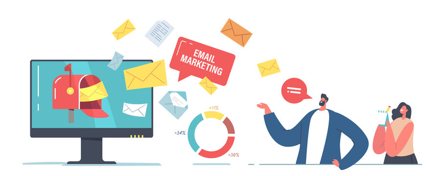 Email Marketing Technology Concept. Tiny Businessman and Businesswoman Characters Stand at Huge Computer Desktop