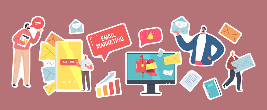 Set of Stickers Email Marketing Theme. Business Characters with Paper Envelopes, Computer Desktop, Ringing Bell