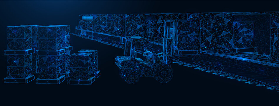 International railway cargo delivery. The forklift truck loads the goods into the train container. Polygonal construction. Blue background.