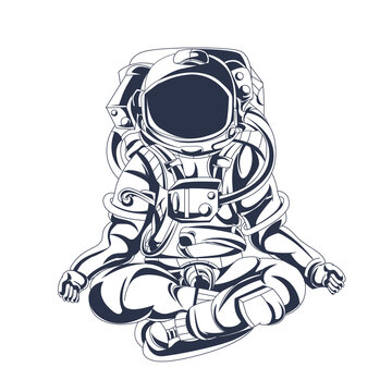 yoga astronaut inking illustration artwork
