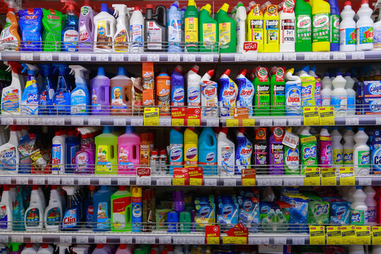 February 7, 2021 Beltsy Moldova Large store. Department with detergents for cleaning the house.