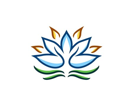 Abstract lotus logo with line art
