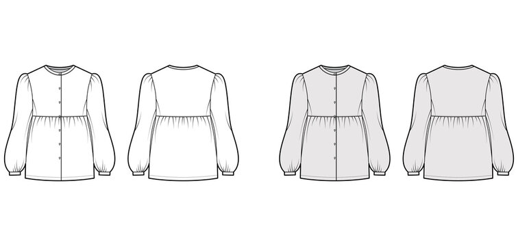 Tunic blouse technical fashion illustration with bouffant long sleeves, stand collar, gathered hem, oversized, button up. Flat apparel top template front, back, white, grey color. Women men CAD mockup